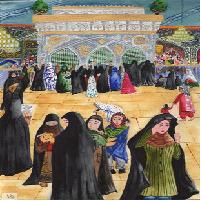 نقاشی زیارت حرم امام رضا(ع) اثر عاطفه محمودی