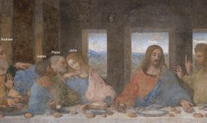 مسیح و حواریون در تابلوی شام آخر